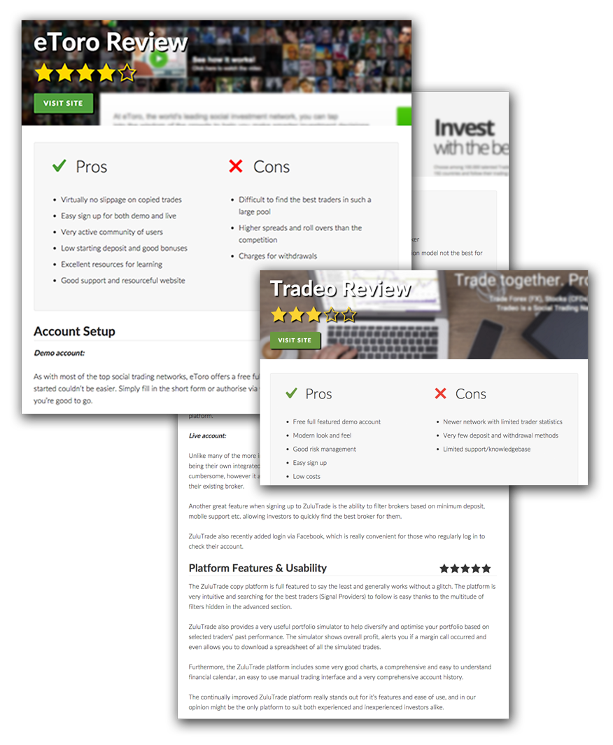 Screenshot of reviews pages