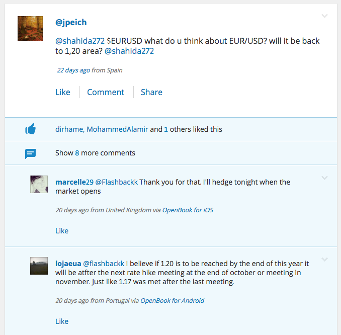 Screenshot of eToro social news feed