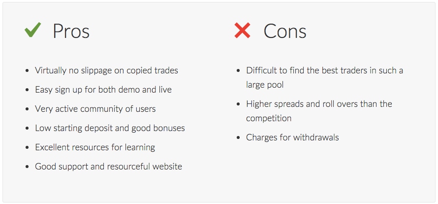 Screenshot of the eToro review pros and cons list